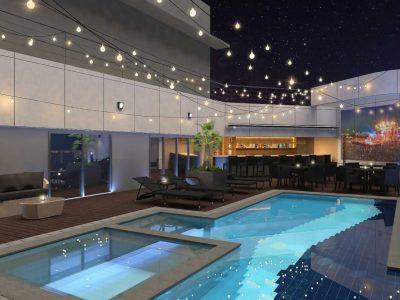 강릉 씨베이 호텔 15층 루프탑 수영장과 바