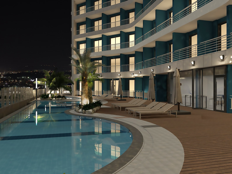 강릉 씨베이 호텔 5층 수영장과 바